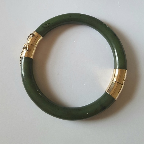 c057cbdfeaf6e Green Jade Bangle Bracelet 14K